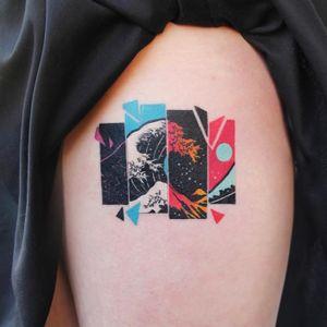 Great Wave of Kanagawa tattoo by Polyc SJ #PolycSJ #seoul #korea #color #watercolor #popart #newschool #greatwave #wave #japaneseinspired