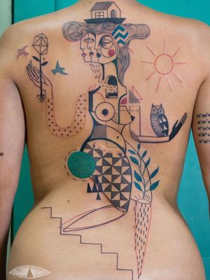 Illustrative tattoo by Expanded Eye #ExpandedEye #illustrative #abstract #cubism #geometric #shapes #surreal #color