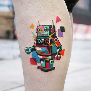 Robot tattoo by Polyc SJ #PolycSJ #seoul #korea #color #watercolor #popart #newschool #robot