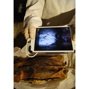 Anne Austin using infrared imaging to view tattoos on the mummy (Credit: Anne Austin) #ancientegyptians #historyoftattooing #figuraltattoos #egyptiantattoos