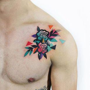 Rose tattoo by Polyc SJ #PolycSJ #seoul #korea #color #watercolor #popart #newschool #rose #shoulder