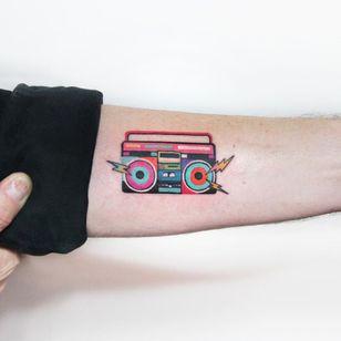 Boom box tattoo by Polyc SJ #PolycSJ #seoul #korea #color #watercolor #popart #newschool #boombox #music #stereo