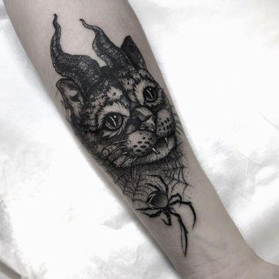 Demon cat tattoo by Wulfbaron #Wulfbaron #darkart #japaneseinspired #illustrative #cat #spider #horns #demon #spiderweb #arm