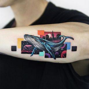 Whale tattoo by Polyc SJ #PolycSJ #seoul #korea #color #watercolor #popart #newschool #whale #sea #ocean #cityscape #surreal
