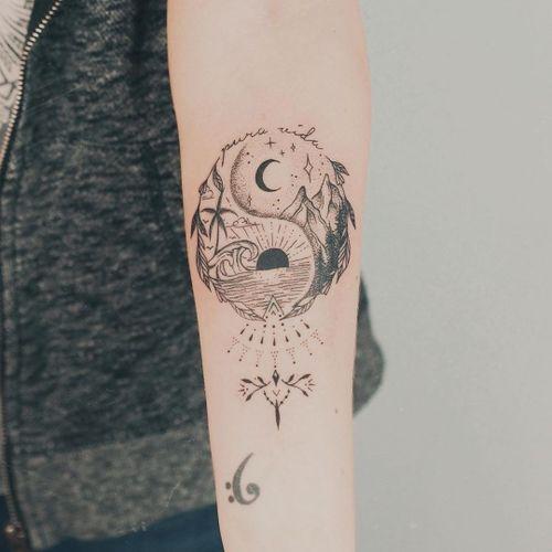 Sun and moon yin yang tattoo by zmfreespirit #zmfreespirit #YinYangtattoos #YinYang #Chinese #symbol