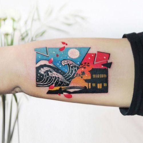 Great Wave of Kanagawa tattoo by Polyc SJ #PolycSJ #seoul #korea #color #watercolor #popart #newschool #greatwave #japaneseinspired #wave #landscape #pagoda