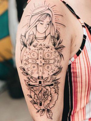 #BrunaGuzzo #tatuadoras #tatuadorasbrasileiras #fineline #religiosa #religious