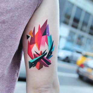 Fire tattoo by Polyc SJ #PolycSJ #seoul #korea #color #watercolor #popart #newschool #fire