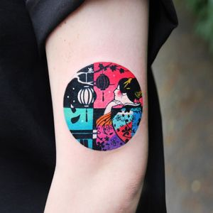 Geisha tattoo by Polyc SJ #PolycSJ #seoul #korea #color #watercolor #popart #newschool #geisha #lantern #floral