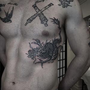 Dragon tattoo by Wulfbaron #Wulfbaron #darkart #japaneseinspired #illustrative #dragon #side #ribs