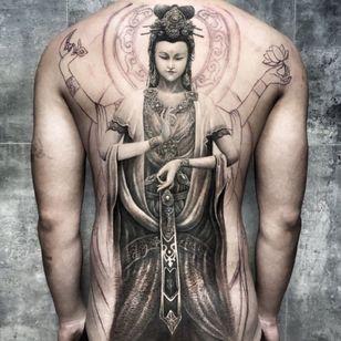 Female bodhisattva tattoo by chongweitattoo #chongweitattoo #buddhisttattoo #buddhatattoo #buddhism #buddha #bodhisattva