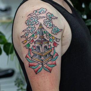 Stupa tattoo by Emil Svedborg aka tattoosved #EmilSvedborg #tattoosved #buddhisttattoo #buddhatattoo #buddhism #buddha #stupa