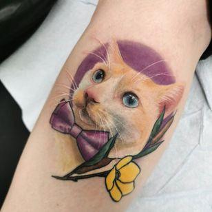 Pet portrait cat tattoo by Heather Drew #HeatherDrew #petportrait #cattattoo #realism #flower