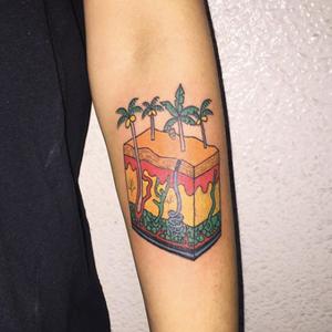 Tattoo by Mick Hee #MickHee #illustrative #palmtrees #earth #landscape #nature
