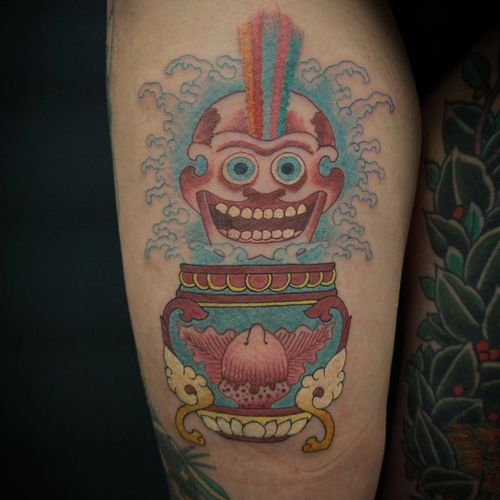 Buddhist symbols tattoo by Yeshe #Yeshe #buddhisttattoo #buddhatattoo #buddhism #buddhistsymbols #skeleton #skull #rainbow #kapala