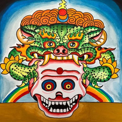 Tattoo flash art by Robert Ryan #RobertRyan #buddhisttattoo #buddhatattoo #buddhism #buddha #tibetan