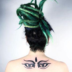 Buddha eyes tattoo by Krzywa Kreska Tatuaze #krzywakreskatatuaze #buddhisttattoo #buddhatattoo #buddhism #buddha #buddhaeyes