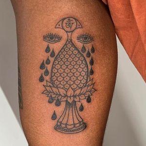 Buddhist symbol tattoo by Inaki Aries #InakiAires #buddhisttattoo #buddhatattoo #buddhism #symbols #buddhaeye #om