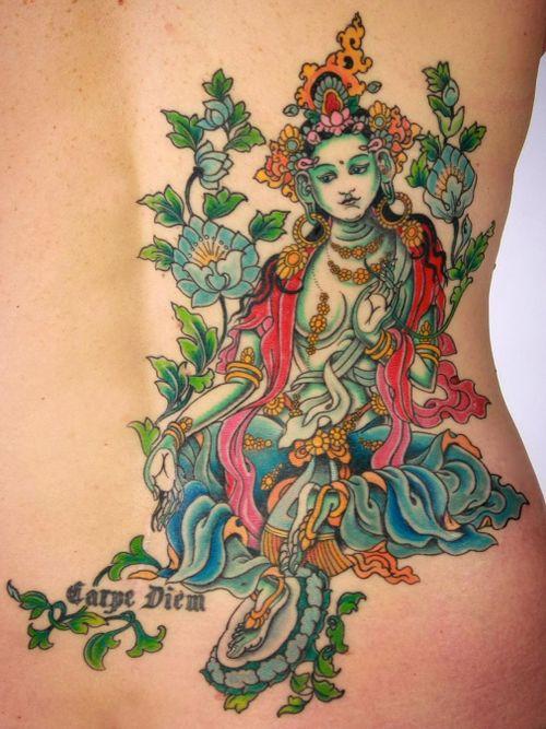 Female bodhisattva tattoo by Yoni Zilber #YoniZilber #buddhisttattoo #buddhatattoo #buddhism #buddha #guanyin #tara