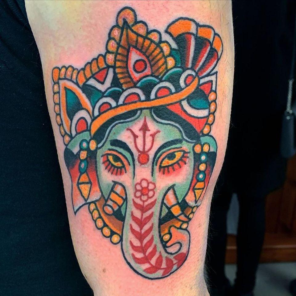 Ganesha tattoo by Robert Ryan #RobertRyan #buddhisttattoo #buddhatattoo #buddhism #ganesha