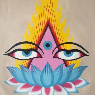 Buddha eyes tattoo flash by Joel Melrose #JoelMelrose #buddhisttattoo #buddhatattoo #buddhism #buddha #buddhaeyes