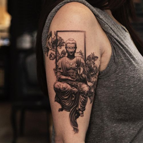 Buddha tattoo by Oscar Akermo #OscarAkermo #buddhisttattoo #buddhatattoo #buddhism #buddha