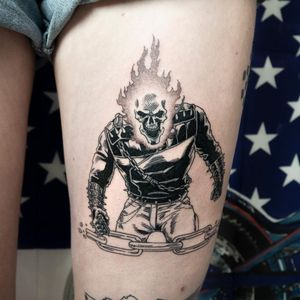 Ghostrider tattoo by Mike End #MikeEnd #ghostrider #comicbook #movie #blackwork #illustrative #skull #fire #chain