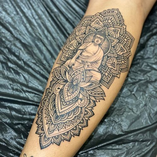 Buddha tattoo by Woodfarm #Woodfarm #buddhisttattoo #buddhatattoo #buddhism #buddha