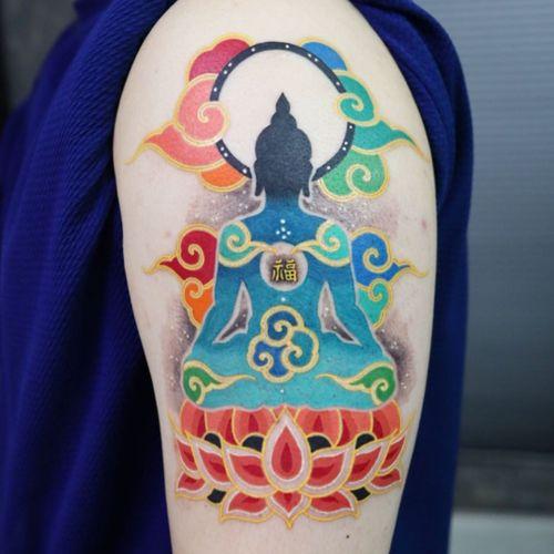 Buddha tattoo by Pitta Kkm #PittaKkm #buddhisttattoo #buddhatattoo #buddhism #buddha #lotus