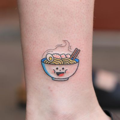 Hand poke tattoo by Han aka Hey Hey Diary #Han #HeyHeyDiary #handpoke #stickandpoke #nonelectric #kawaii #cute #tiny #small #funny #seoul #koreantattooist #ramen #food #egg #chopsticks
