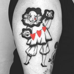 Pierrot tattoo by Chelsea Cortes aka xelkopt #ChelseaCortes #xelkopt #heart #pierrot #clown #illustrative #vintage