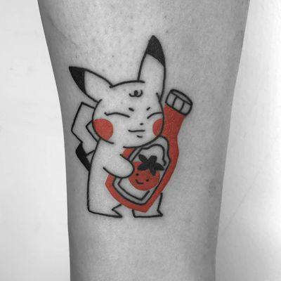 Pikachu tattoo by Chelsea Cortes aka xelkopt #ChelseaCortes #xelkopt #pikachu #tomato #ketchup #pokemon #illustrative