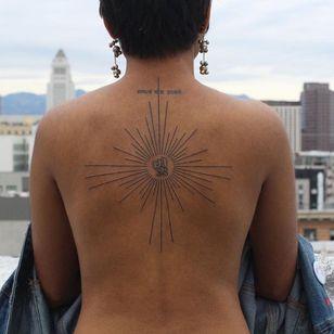 Back tattoo by parkkaro #parkkaro #linework #sun #backtattoo