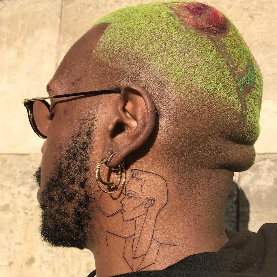 Neck tattoo by Leo Gavaggio #LeoGavaggio #necktattoo #portrait #GraceJones #linework #illustrative