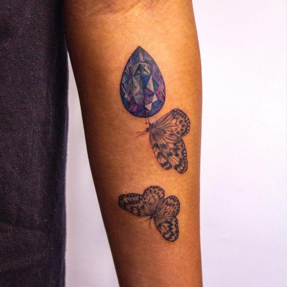 Butterfly tattoo by Tsyna #Tsyna #illustrative #realism #butterfly #gem #diamond #color #nature
