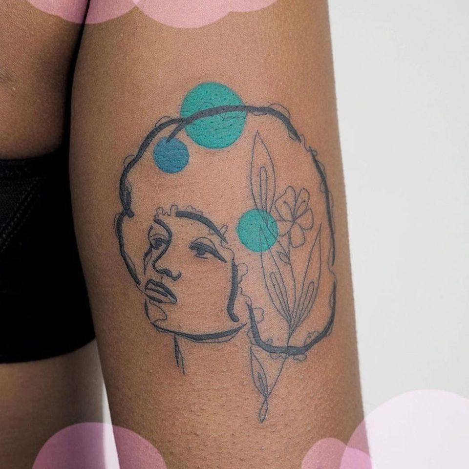 Tattoo by honeybadger tattoo #honeybadgertattoo #portrait #illustrative #floral #color #circles