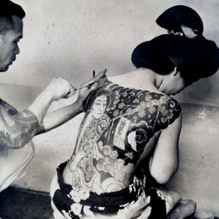 Vintage photograph of Japanese tattooing
