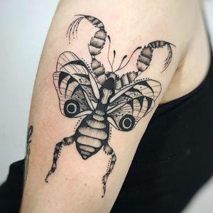 Insectt tattoo by Hellen Zumbi #HellenZumbi #illustrative #linework #dotwork #nature #organic #braziltattoo