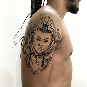 Illustrative portrait tattoo by Hellen Zumbi #HellenZumbi #illustrative #linework #dotwork #nature #organic #braziltattoo