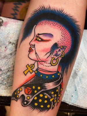 Tattoo by Joe Chatt #JoeChatt #traditional #japanese #color #punk #portrait #ladyhead #leather #mohawk #ankh