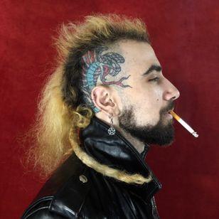 Healed snake tattoo by Joe Chatt #JoeChatt #traditional #japanese #color #punk #snake