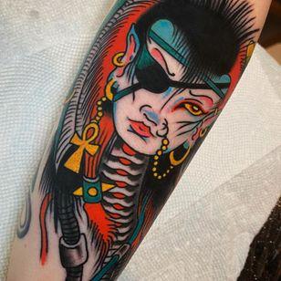 Tattoo by Joe Chatt #JoeChatt #traditional #japanese #color #punk #yokai #ankh #portrait #ladyhead