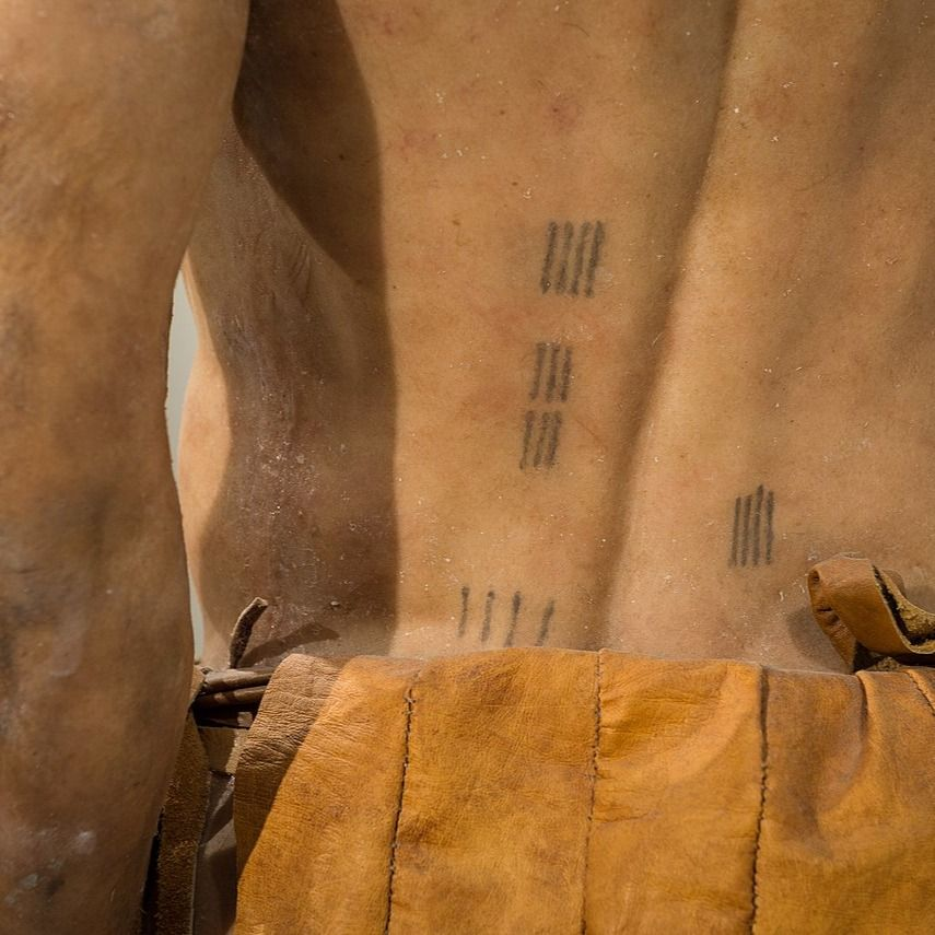 "Replica of Otzi aka ""Iceman"" with his medicinal tattoos #healingpoweroftattoos #medicinaltattoos #ancienttattooing #historyoftattooing"