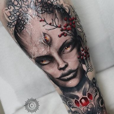 Portrait tattoo by Wandal #Wandal #portrait #ladyhead #thirdeye #jewels #ornamental