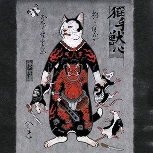 Monmon cat painting by Horitomo #Horitomo #monmoncats #cat #irezumi #japanese