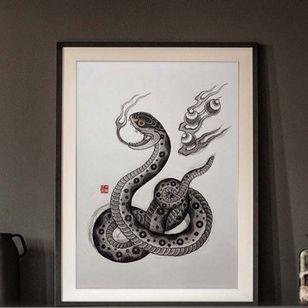 Snake Print by Ichi Hatano #IchiHatano #Japanese #Irezumi #dragons