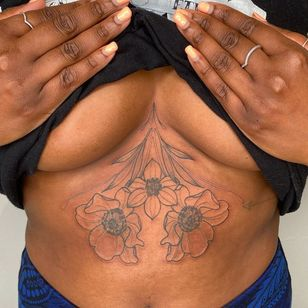 Flower tattoo by humblebeetattoo #humblebetattoo #flower #floral #sternum #illustrative #linework #sexualassaultawarenesstattoo #sexualassaultsurvivortattoo #survivortattoo #tattoosforstrength #selflove #empoweringtattoos