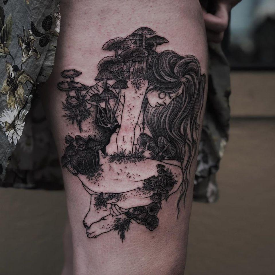 Illustrative tattoo by Ruby Wolfe #RubyWolfe #illustrative #mushroom #lady #nature #darkart