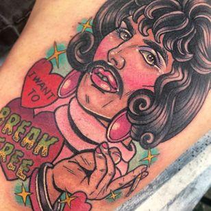 Freddie Mercury tattoo by Sarahktattoo #sarahktattoo #freddiemercury #heart #breakfree #queentattoo #portrait #neotraditional #music #sexualassaultawarenesstattoo #sexualassaultsurvivortattoo #survivortattoo #tattoosforstrength #selflove #empoweringtattoo