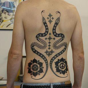 Back tattoo by Nico Bone #NicoBone #snake #pattern #folkart #backtattoo #sexualassaultawarenesstattoo #sexualassaultsurvivortattoo #survivortattoo #tattoosforstrength #selflove #empoweringtattoos